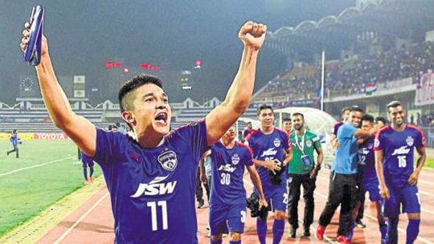 Sunil Chhetri-led Bengaluru FC will face Kerala Blasters FC in an Indian Super League (ISL) match on Sunday.(PTI)