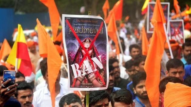 Members of Rashtriya Rajput Karni Sena during a protest against 'Padmavati' in Bengaluru.(PTI File Photo)