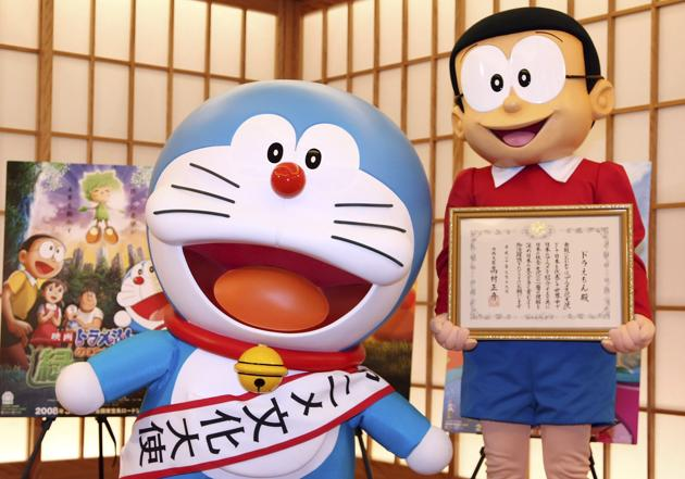 Doraemon (left) and Nobita-kun, another character in the cartoon programme at the Anime Ambassador inauguration ceremony at the Japanese foreign ministry in Tokyo on March 19, 2008.(Getty Images)