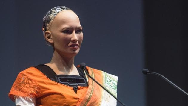 Sofia, the humanoid robot, made its first appearance in India at Indian Institute of Technology Bombay (IIT-B) on Saturday, during its cultural extravaganza TechFest.(Pratik Chorge/HT Photo)