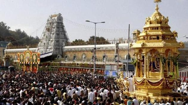 The controversy over the working of non-Hindus in the TTD surfaced following a sting operation done by a local spiritual television channel on a senior woman TTD official who regularly goes to churches in the temple town in her official vehicle.(PTI FILE PHOTO)