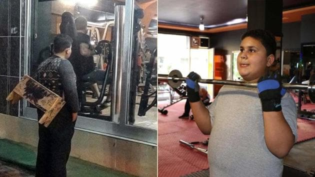 (L) Muhammet Halit looking longingly through the glass walls of the gym; (R) Halit trying out his hand at the equipment.(Mahir Alan)