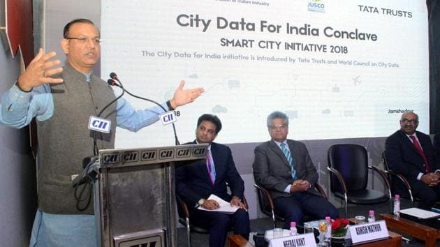 Union minister of state for civil aviation, Jayant Sinha addressing the City Data for India conclave in Jamshedpur on Tuesday,(Manoj Kumar/HT PHOTO)