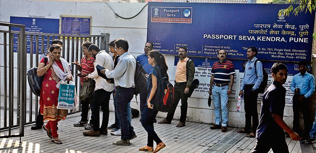 Passport office at Mundhwa. Besides changes in address, MEA is also considering changes in colour of passport.(Shankar Narayan/HT Photo)