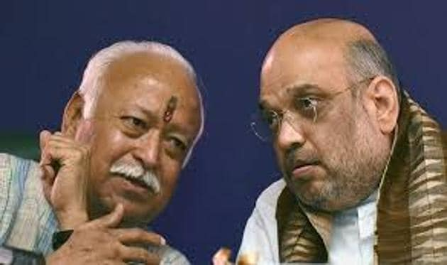 Several BJP and RSS leaders on Sunday met at the residence of Home Minister Rajnath Singh.(PTI File Photo)