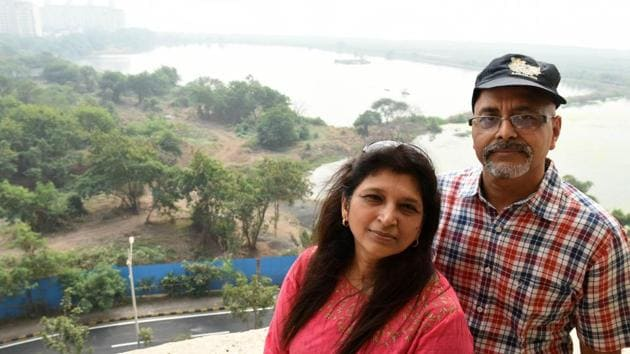 Sunil and Shruti Agarwal protect a wetland, which is home to 80 different bird species, in Seawoods, Navi Mumbai.(Bachchan Kumar)