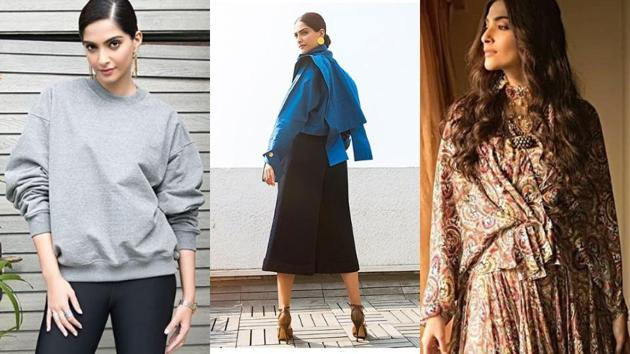 Taking risks with her sartorial choices, actor Sonam Kapoor is wearing one memorable look after another: From a dramatic structured blue shirt by Georgian designer Gvantsa Janashia (centre) to a casual oversized Fear of God sweatshirt (left) and an Anamika Khanna dress (right).((Instagram/ Sonam Kapoor))