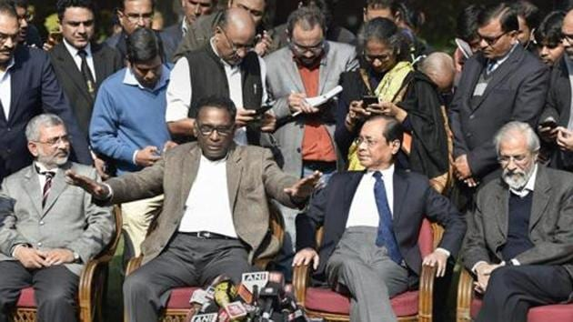 Supreme Court judge J Chelameswar along with Justice Ranjan Gogoi, Madan Lokur and Kurian Joseph during a press conference in New Delhi on Friday.(PTI File Photo)
