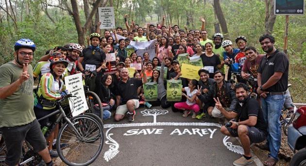 Mumbai Road Runners celebrate 'Save Aarey Run' at Aarey Colony.(HT FILE)