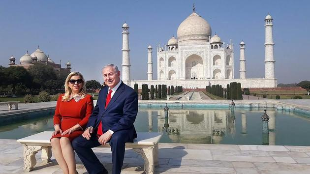 <p>Israeli PM Benjamin Netanyahu and wife Sara visit the Taj Mahal in Agra on Tuesday, a day after New Delhi and Tel Aviv signed nine pacts to boost bilateral...