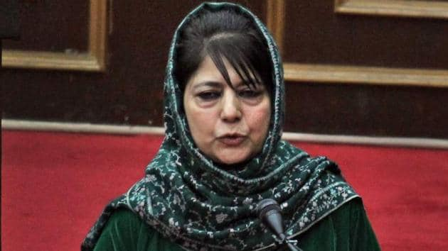 Jammu and Kashmir chief minister Mehbooba Mufti speaks in the legislative council.(PTI file)