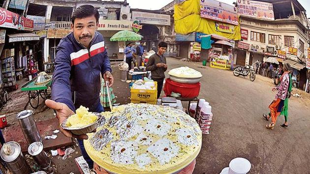 The spot is famous for malai makkhan, a cream desert available only in winter.(HT Photo)