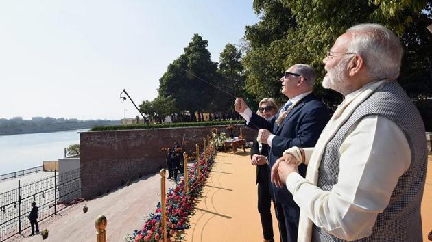 <p>Prime Minister Narendra Modi looks on as his Israeli counterpart Benjamin Netanyahu flies a kite in Ahmedabad. The two leaders held a roadshow, inaugurated...