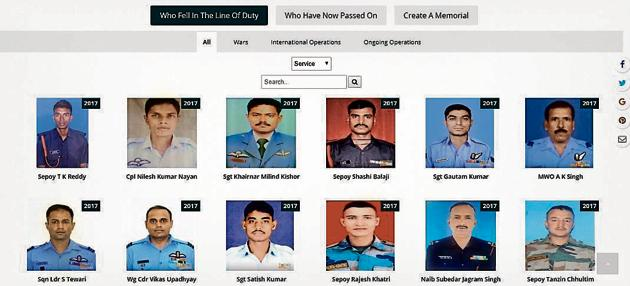 Honourpoint has been set up by three retired Wing Commanders, MA Afraz, Rajendra Prasad and LK Chaubey. The eventual aim is to pay tribute to every deceased India soldier since August 15, 1947.