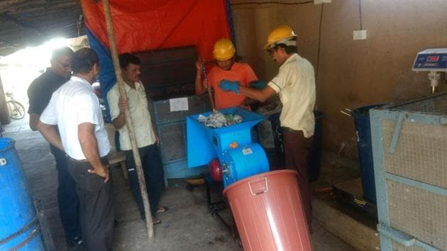 The waste treatment setup at Raheja Classique in Andheri (West).(HT photo)