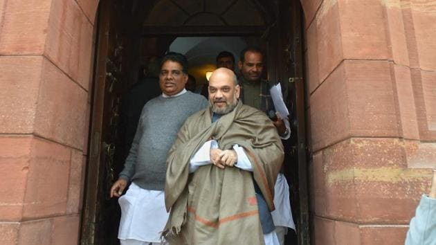 Bharatiya Janata Party president Amit Shah during the winter session of Parliament in New Delhi.(PTI file)