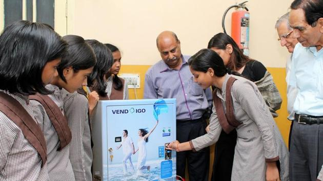 Under the Amodini project, a Ludhiana-based Versatile Enterprises Limited company installed pad-dispensing machines and incinerators in 14 government schools in the city.(HT Photo)