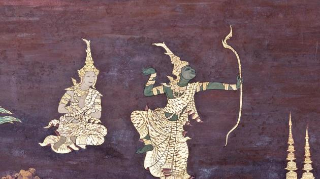An ancient mural with a scene from the Ramakien at Wat Phra Kaew Temple, Thailand. The Ramakien is national epic, derived from the Hindu epic Ramayana(Shutterstock)