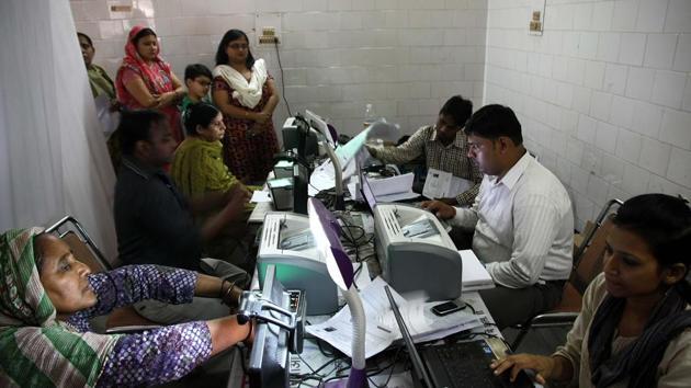 An Aadhaar camp at Dhaka Village, New Delhi(Hindustan Times)
