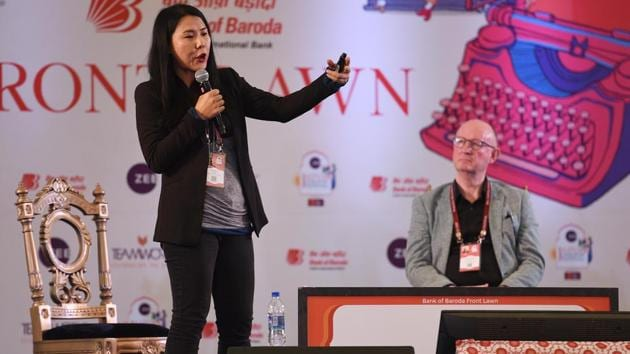 In the session titled Undercover in North Korea: Facts and Fiction, investigative journalist Suki Kim spoke about her experience of working as a teacher at a North Korean University in 2011.(Raj K Raj/HT PHOTO)