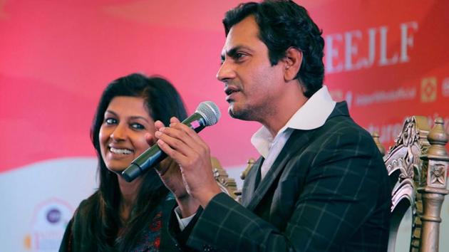 Nawazuddin Siddiqui and Nandita Das during a session titled Manto: The Man and The Legend at the Jaipur Literature Festival on Friday.(PTI)