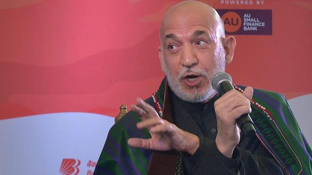 Jaipur: Former Afghan president Hamid Karzai speaks at a session during Jaipur Literature Festival 2018 at Diggi Palace in Jaipur on Friday. PTI Photo (PTI1_26_2018_000219B)(PTI)