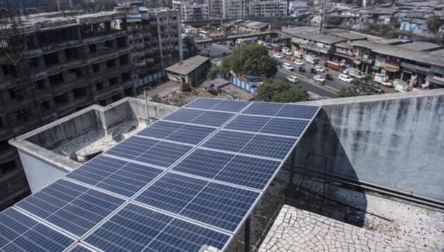 Mumbai, India - Jan. 28, 2018: The solar grid cost residents of Twin Star Cooperative Housing Society Rs14 lakh.(Satish Bate/HT Photo)