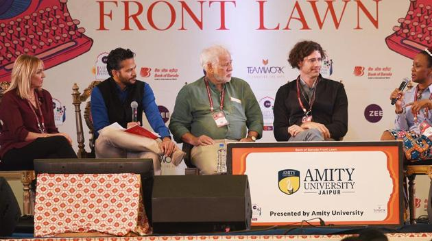 Panelists of the session titled The Art of the Novel included Amy Tan, Chika Unigwe, Helen Fielding, Joshua Ferris and Michael Ondaatje. They were in conversation with Chandrahas Choudhury.(Raj K Raj/HT PHOTO)