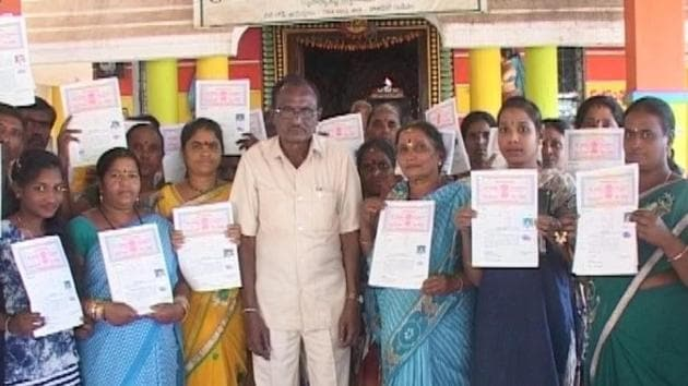 Wage labourer M Balaji, who is also a beneficiary of Achary's benevolence, said he would never have been able to buy land in his life if he had not been given a plot a few years ago.(HT Photo)