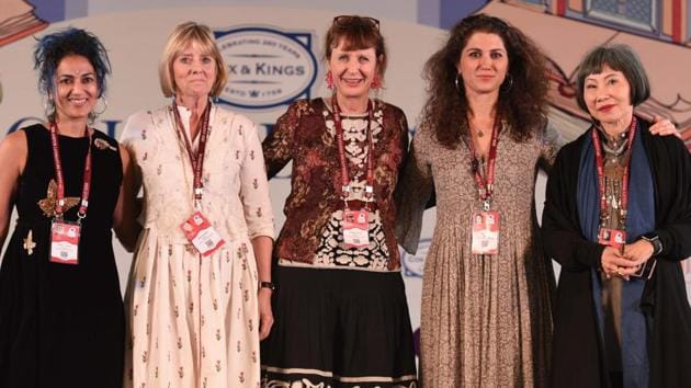 The session, titled The Feminine Gage: Women Writing Memoir was attended by Abeer Y Hoque, Alia Malek, Amy Tan, Juliet Nicolson and Keggie Carew.(Raj K Raj/HT PHOTO)