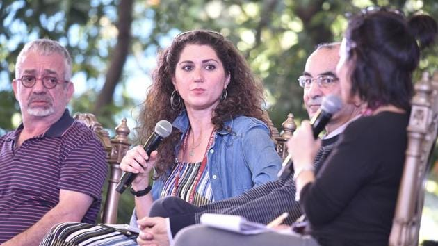 From left: Rabih Alameddine, Alia Malek and Raja Shahdehah in conversation with Susan Abulhawa during the session Writing the Arab World at the Jaipur Literature Festival on Monday.(Raj K Raj/HT PHOTO)