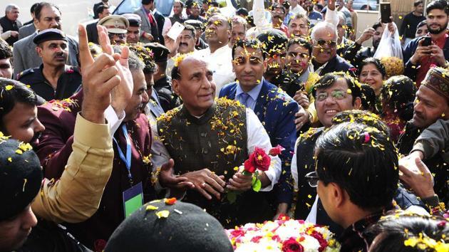 Home minister Rajnath Singh at Bharatiya Janata Party office in Chandigarh on Tuesday.(Keshav Singh/HT Photo)