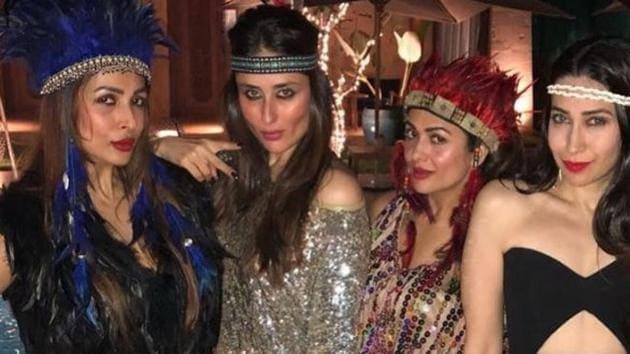 Kareena Kapoor Khan, Karisma Kapoor and Malaika Arora celebrate the 40th birthday of Amrita Arora.(Instagram)