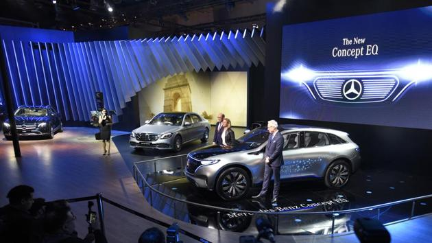 Mercedes talks about commitment to electric vehicles and their scope in India. It unveiled its Concept EQ, luxury car Mercedes-Benz Maybach S650 and the new E-Class All-Terrain. (Burhaan Kinu / HT Photo)