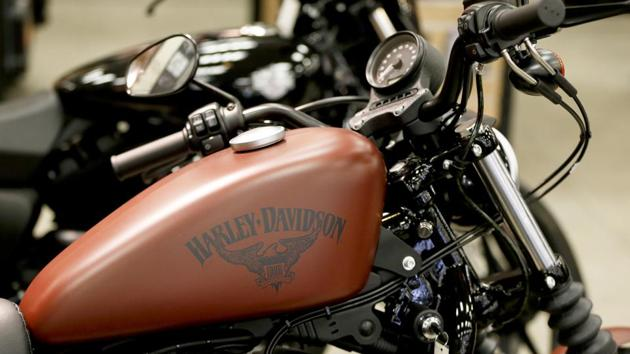 The Harley-Davidson name on the gas tank of a Harley-Davidson Sportster Iron XL883N at a dealership in Glenshaw.