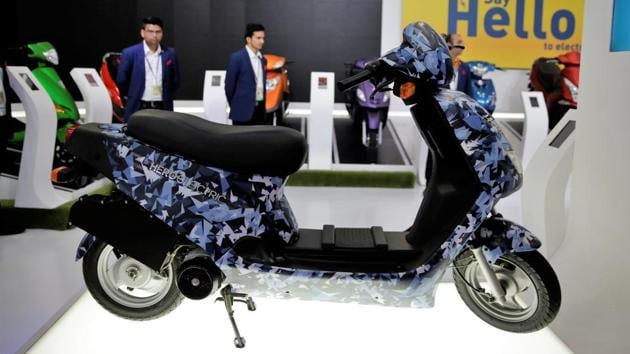 Hero Electric AXLHE - 20 is displayed in the Auto Expo 2018. (Altaf Qadri / AP)