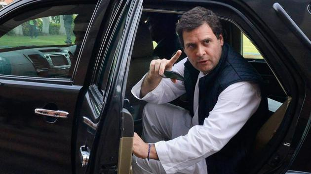 Congress president Rahul Gandhi at Parliament House in New Delhi on Tuesday.(PTI)