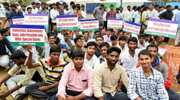 YSR Congress workers protest against the 'raw deal' meted out to Andhra Pradesh in the Union budget on Thursday.(HT Photo)