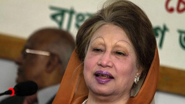 Bangladesh opposition leader Khaleda Zia speaks during a press conference in Dhaka on February 7, 2018.(AFP)