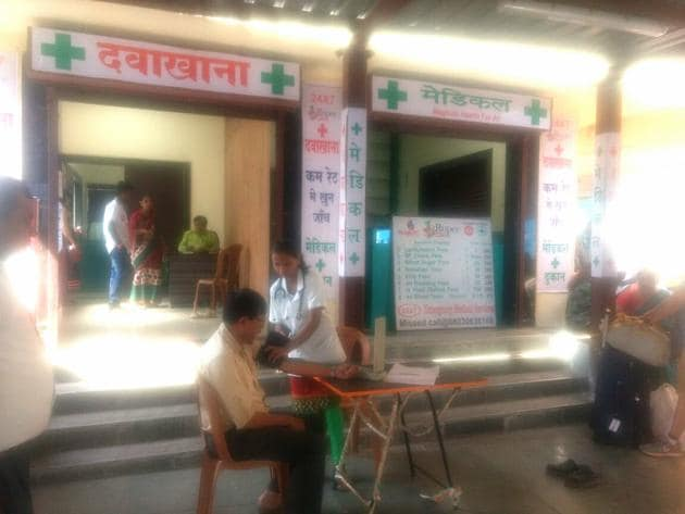 The 1 Rupee Cliniic opened at Thane station four months ago. Every day, around 300 people check their BP here free of cost.(Praful Gangurde)