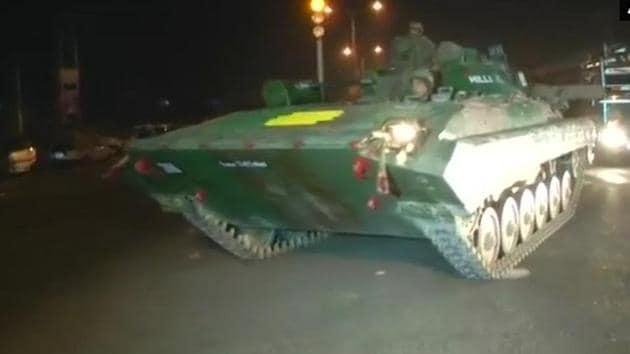 Armoured vehicles deployed at Sunjuwan army camp in Jammu on Saturday.(ANI Twitter Photo)