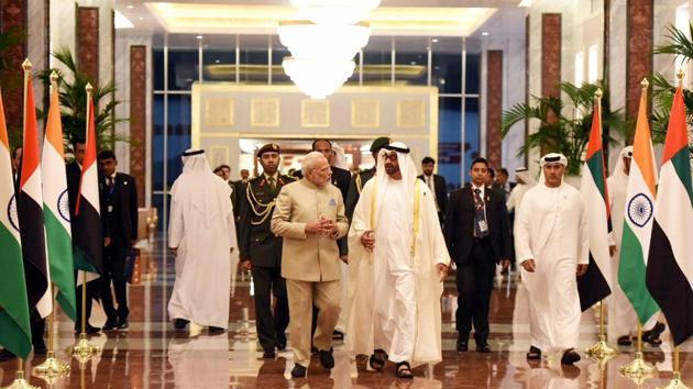 Prime Minister Narendra Modi with Crown Prince of Abu Dhabi, Deputy Supreme Commander of the UAE Armed Forces, General Sheikh Mohammed Bin Zayed Al Nahyan, Abu Dhabi, United Arab Emirates, February 10(PTI)