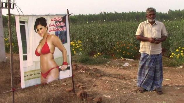 The poster has a line written in Telugu: 'Orey, nannu chusi edavakura (Hey, don't cry or feel jealous of me)!'(HT Photo)