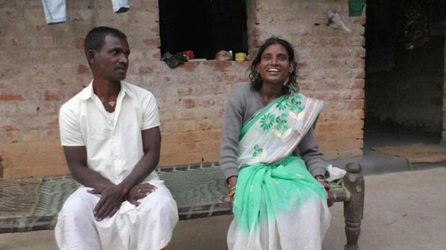 Manohar Naik and his wife Anita Naik in their village in East Singhbhum district after they were united(HT Photo)