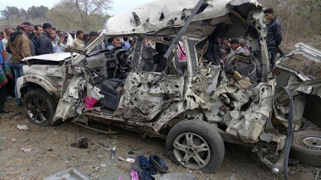 Mangle remains of the SUV of Congress district President Shankar Yadav who was killed on February 13(HT Photo)