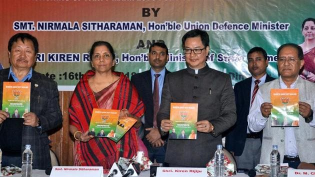 BJP's Nagaland president Visasolie Lhoungu, Union defence minister Nirmala Sitharaman, Union minister of state for home Kiren Rijiju, State BJP election management committee M Chuba Ao release BJP manifesto ahead of Nagaland assembly elections in Dimapur on Friday.(PTI Photo)