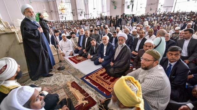 Iranian President Hassan Rouhani addresses a gathering after offering prayers at Makkah Masjid in Hyderabad on Friday.(PTI photo)