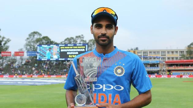 <p>Shikhar Dhawan&rsquo;s blistering 72 and Bhuvneshwar Kumar&rsquo;s five-wicket haul guided India to a 28-run win over South&thinsp;Africa in the first T20 at...