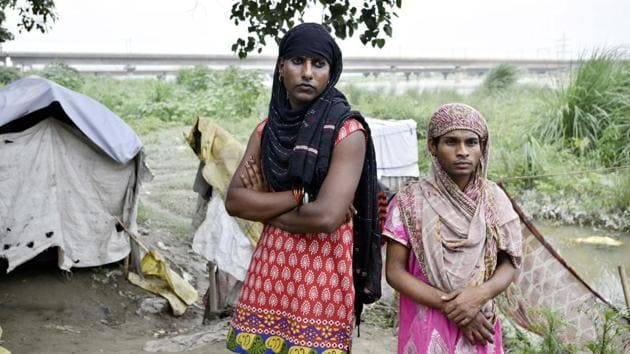 A portrait of Kajal and her friend Maya from a 2016 HT series on Delhi's homeless.(Arun Sharma / HT File Photo)