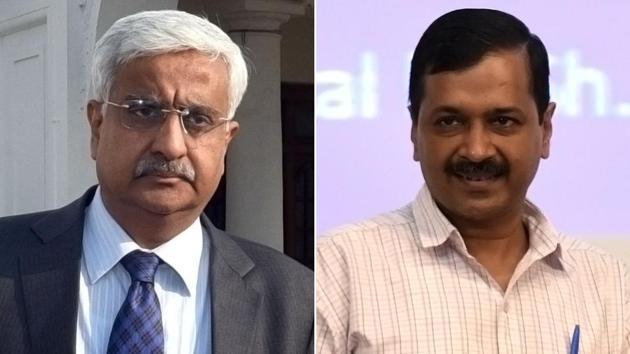 Delhi chief secretary Anshu Prakash and Delhi CM Arvind Kejriwal.(Sonu Mehta/HT Photo)
